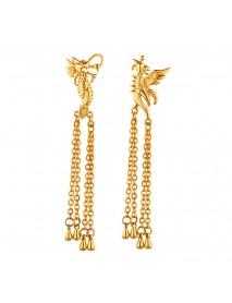 Luxury Dragon and Phoenix Drop Earrings Retro Wedding Bridal jewelry for Women
