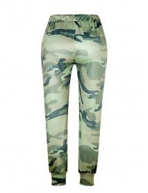Camouflage Print Women Elastic Waist Loose Casual Pants