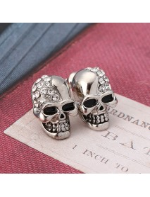 Punk Skull Head Ear Stud Rhinestone Earrings Wholesale for Men Women