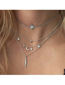 Trendy Multilayer Pendant Necklace Moon Star Bar Chain Charm Necklace Ethnic Jewelry for Women
