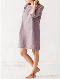 Plus Size Women Crew Neck Half Sleeve Solid Mini Dress