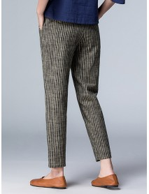 Casual Striped High Waist Pockets Pants For Women