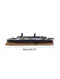 40cm Aquarium Fish Tank Ornament Shipwreck Boat Ship Wreck Hiding Cave Decor