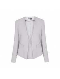 Women Elegant Brief V-neck No Button Pocket OL Work Short Blazer