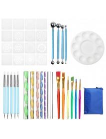 41 Pcs/set White Plastic Mandala Paint Tray Openwork Painting Template Tool Kit