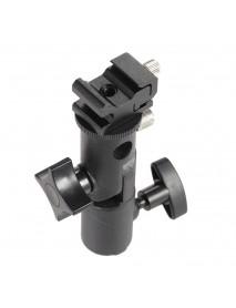 E Type Universal Metal Flash Hot Shoe Speedlite Umbrella Holder Light Stand Bracket with Screw Mount