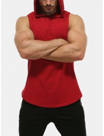 Men Casual Solid Color Hooded Sleeveless Curved Hem Sport Tops