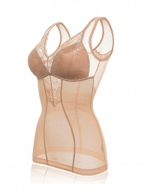 Add Long Wireless Thin Tank Top Lace Shapewear