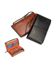 Multifunctional Leather Men Zip Clutch Wallet Purse Phone Bag Credit Card Holder for under 6 inches Phone
