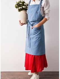 Denim Cowboy Japanese Style Kitchen Cooking Aprons Dress with Pockets