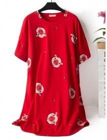 Cartoon Pig Printing Overhead Short Sleeve Cotton Nightgown