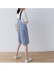 Black Shoulder Strap Denim Sling Shorts Women's Season New Loose Casual Pants 6651