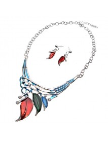Elegant European Leaves Enamel Inlay Crystal Necklace Earrings Jewelry Set for Women