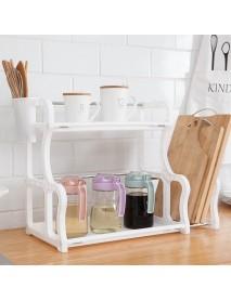 2 Layers Multifunctional Storage Rack Plastic Kitchen Tool Organizer Holder Shelf