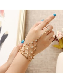 JASSY 18K Gold Plated Colorful Rhinestone Palm Bracelet With Ring Fashion Anallergic Women Jewelry