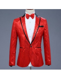Men V-neck Blazer Coat Shiny Sliver Sequin Blazer Slim Men Blazers Party Show Jacket