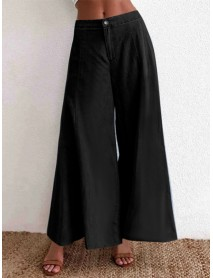Casual Loose Button Solid Color High Waist Wide Leg Pants