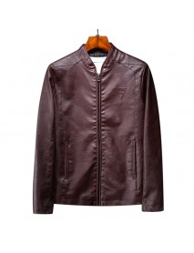 Mens Casual Stand Collar Long Sleeve Business Leather Jacket