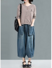 Vintage Denim Elastic Waist Women Baggy Harem Pants with Pockets