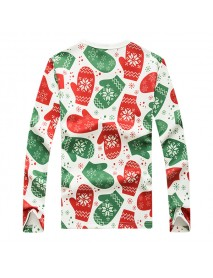 Christmas Gloves Printed Sweater Mens Casual Round Collar Pullover Sweaters