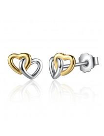 Classic Double Heart 925 Sterling Silver Earring Sweet Heart Anallergic Ear Stud for Women