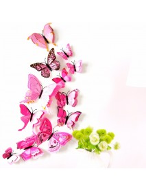 12PCS 7 Colors 3D Double Layer Butterfly Wall Sticker Fridge Magnet Home Decor Art Applique