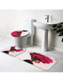 3PCS African Girl Explosion Head Non-Slip Bath Carpet Toilet Cover Shower Mat