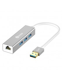 Biaze ZH17 Aluminum Alloy USB 3.0 to 3-Port USB 3.0 + 1000Mbps Gigabit RJ45 Ethernet Hub