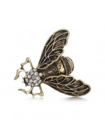 Vintage Cicada Insect Brooch Pins Steampunk Bronze Rhinestone Enamel Brooches Costume Jewelry