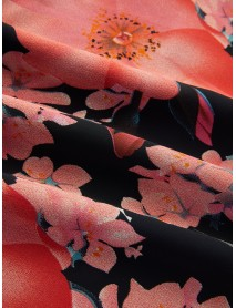 Backless Random Floral Print V Neck Sleeveless Mini Dress