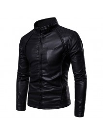 Mens Casual Stand Collar Long Sleeve Thick Warm Solid Color Leather Jacket