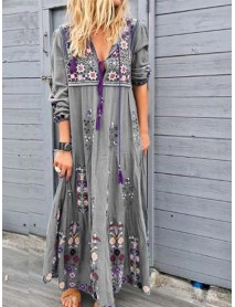 Bohemian Casual Patchwork V Neck Floral Embroidery Maxi Dress