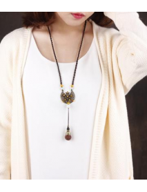 Adjustable Ethnic Bodhi Rudraksha Pendant Necklace Retro Alloy Jade Flower Plate Long Necklaces
