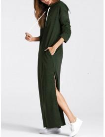 Casual Women Pure Color Hooded Long Sweatshirt Dress
