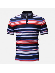 Men Colorful Stripe Muscle Fit Golf Shirt