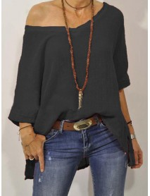 3/4 Sleeve V-neck Solid Color Loose Blouse