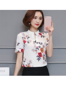 678 Season New Temperament Printed Stand Collar Short-sleeved Shirt Loose Floral Chiffon Shirt