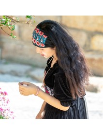 Women Ethnic Headband Embroidery Vintage Cap Floral Ethnic Style Hat