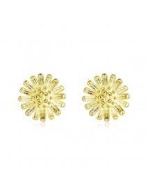 INALIS Trendy Copper Gold Plated Flower Earring Ear Stud for Women