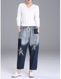 XL-5XL Casual Women Hole Denim Pants