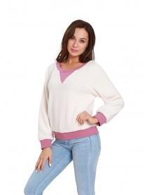 Casual Women Fleece Patchwork Long Sleeve Sweatshirt