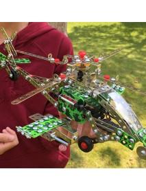 426PCS Full Alloy Jigsaw Puzzles Apache Plane Model Building Blocks Toy