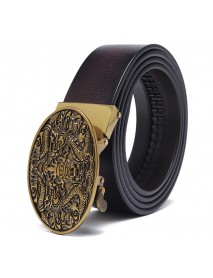 120CM 125CM Business Casual Printed Two-Layer Leather Embossed Waist Belt with Alloy Automatic Buckl