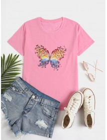 Butterfly Print Round Neck Short Sleeve Summer Wild Casual T-shirts