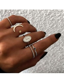5Pcs Bohemian Finger Ring Set Moon Star Open Close Rings Fashion Jewelry for Women