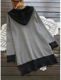 Casual Women Cat Stripe Hooded Sweaters