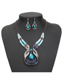 Blue Gems Necklace Crystal Drop Earrings Jewelry Set