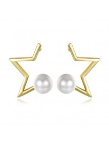 INALIS Pearl Gold Plated Earrings Star Copper Ear Stud for Women