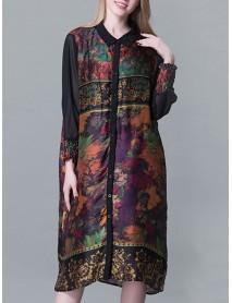 Plus Size Turn-down Collar Ruffle Hem Floral Dresses