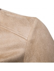 Imitated Suede Lapel Fleece Collar Zipper Pockets Fashion Jacket for Men